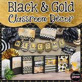 Black and Gold Glitter Classroom Decor