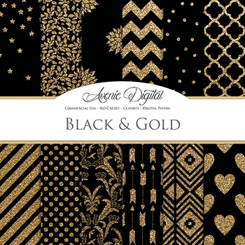 Black and Gold Glitter Digital Paper - background