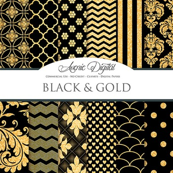 Black And Gold Glitter Digital Paper Sparkle Pattern Scrapbook