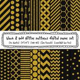 Black and Gold Glitter Patterns Digital Paper Set, Chevrons, Stripes, Polka Dots