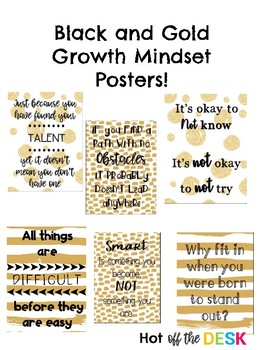 Black and Gold Growth Mindset Posters