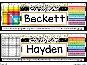 Black and Gold INTERMEDIATE Name Plates and Desk Helpers {Editable}