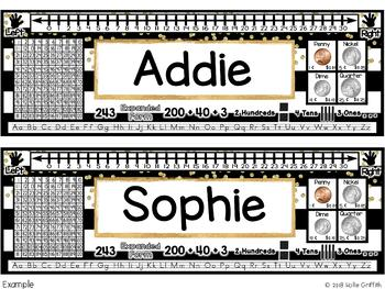 Black and Gold Name Plates & Desk Helpers {Editable}