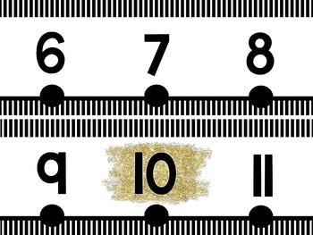 Black and Gold Number Line