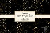 Black and Gold Stars Digital Paper