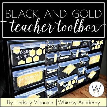 Black and Gold Teacher Toolbox Labels {EDITABLE}