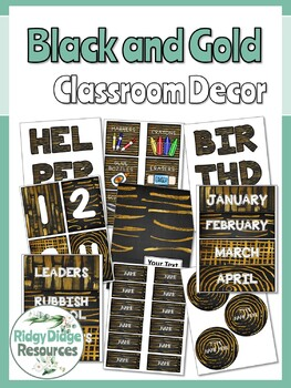 Black and Gold Themed Classroom Decor for Upper Primary