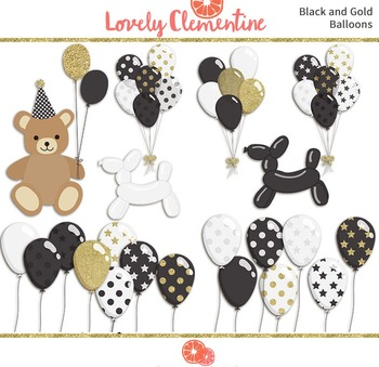 Black and Gold birthday clip art images, balloon clip art, party clip art