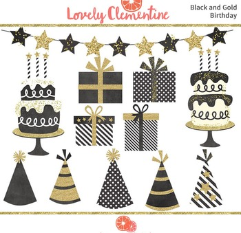 Black and Gold birthday clip art images, cake clip art, pa
