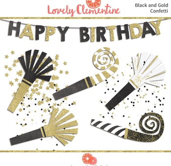 Black and Gold birthday clip art images, confetti clip art, party clip art