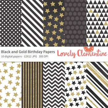 Black and Gold papers 12x12, birthday digital papers