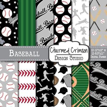 Black and Gray Baseball Digital Paper 1467