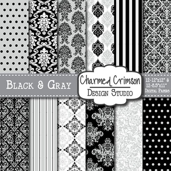 Black and Gray Damask Digital Paper 1306