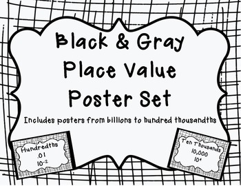 Black and Gray Place Value Posters