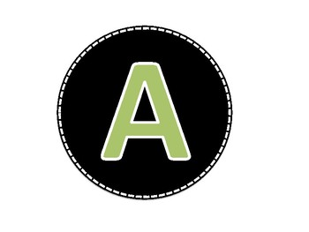 Black and Green Colored Alphabet Uppercase Letters and Numbers (1-40)