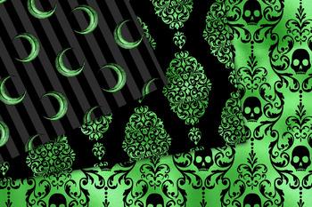 Black and Green Halloween Digital Paper