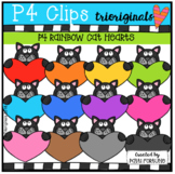 Black and Grey Cat Holding Heart (P4 Clips Triorgiinals)