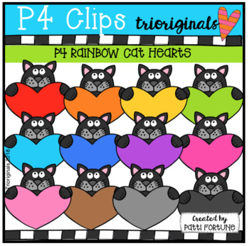 Black and Grey Cat Holding Heart (P4 Clips Triorgiinals)