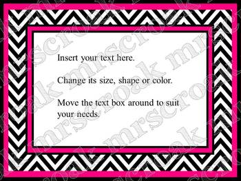 Bulletin Board Headers: black & hot pink chevron (editable)