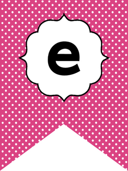 Black and Hot Pink Polka Dots Welcome Bunting. Printable Classroom Accessories.