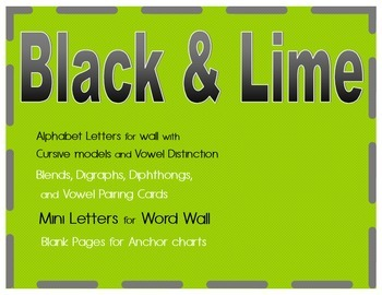 Black and Lime Green Alphabet with Cursive letters