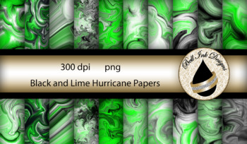 Black and Lime Hurricane Papers Clipart