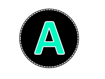 Black and Mint Colored Alphabet Uppercase Letters and Numbers (1-40)