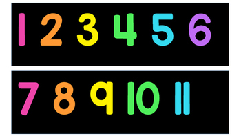 Black and Neon 1-120 Number Line + White and Neon 1-120 Nu