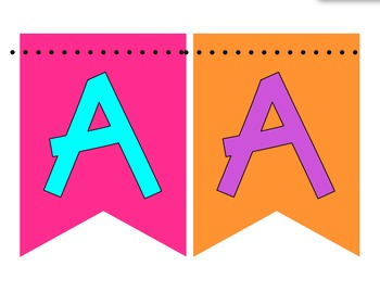 Black and Neon Banner Pennants - Full Alphabet A-Z, Numbers, and Symbols