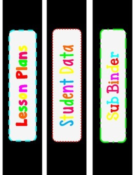 Black and Neon Binder Covers