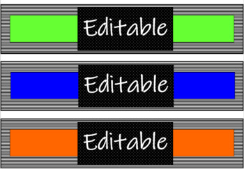 Black and Neon Binder Covers with Matching Spine Labels