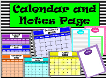 Black and Neon Calendar Pages and Design Note Pages