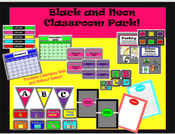 Black and Neon Classroom Pack- Organization and Decor