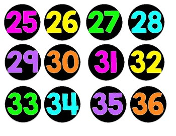 Black and Neon Numbered Circle Labels