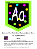 Black and Neon Polka Dots Classroom Decor
