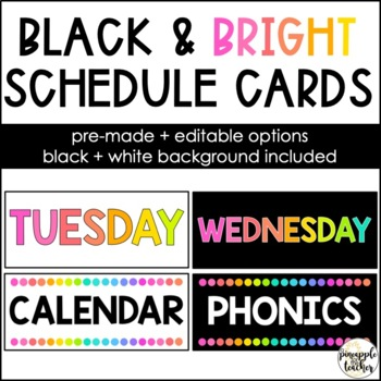 Black and Neon Schedule Cards (EDITABLE)