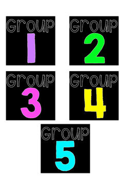 Black and Neon Square Group Labels