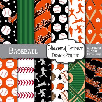 Black and Orange Baseball Digital Paper 1447