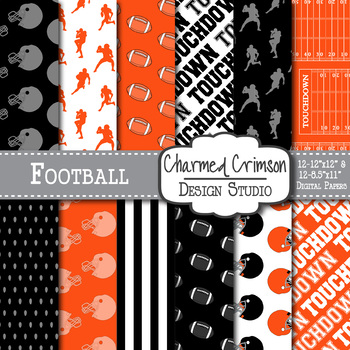 Black and Orange Football Digital Paper 1421