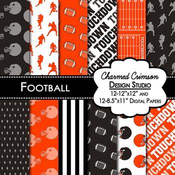 Black and Orange Football Digital Paper 1422
