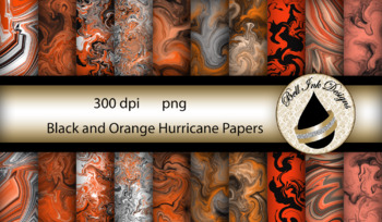 Black and Orange Hurricane Papers Clipart