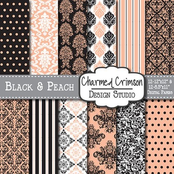 Black and Peach Damask Digital Paper 1445
