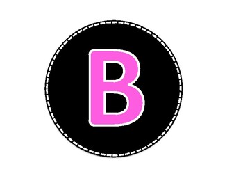 Black and Pink Colored Alphabet Uppercase Letters and Numbers (1-40)