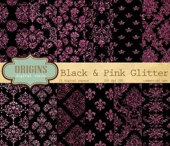 Black and Pink Glitter Damask Grunge Gothic Digital Paper Backgrounds