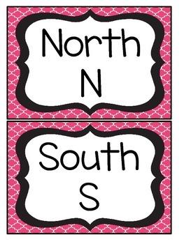 Black and Pink Quatrefoil Cardinal Direction Cards