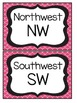 Black and Pink Quatrefoil Cardinal Direction Cards