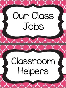 Black and Pink Quatrefoil Class Job Cards Set