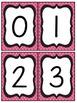 Black and Pink Quatrefoil Number and Letter Cards