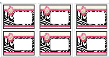 Black and Pink Zebra Print Editable ID Labels for Avery Te