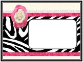 Black and Pink Zebra Print Horizontal Binder, Classroom or
